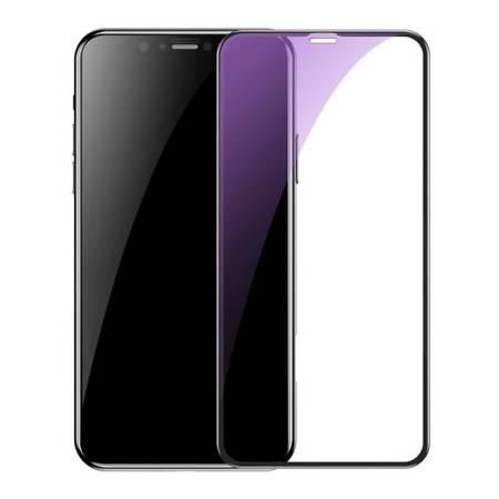 Baseus 2x szkło na cały ekran Full Screen z ramką 0.3mm 9H Anti-bluelight iPhone 11 Pro / iPhone XS / iPhone X + pozycjoner czarny (SGAPIPH58S-KD01)