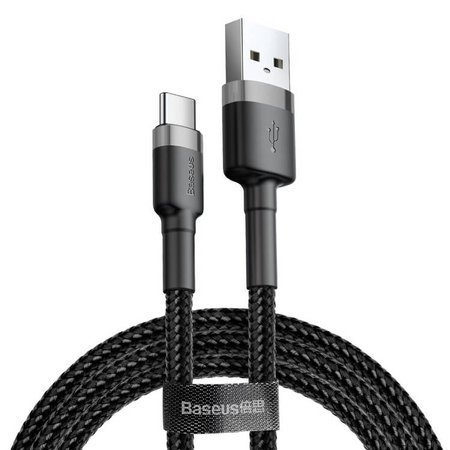 Baseus Cafule Cable wytrzymały nylonowy kabel przewód USB / USB-C QC3.0 2A 3M czarno-szary (CATKLF-UG1)