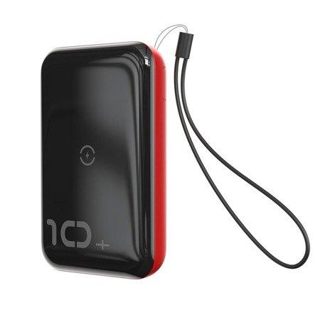 Baseus Mini S power bank 10000mAh 18W bezprzewodowa ładowarka Qi 10W USB / USB Typ C PowerDelivery QC3.0 czerwony (PPXFF10W-19)