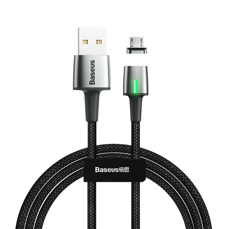 Baseus Zinc magnetyczny kabel USB / micro USB 2m 1.5A czarny (CAMXC-B01)