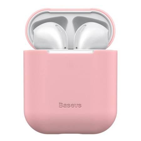Baseus silikonowe etui case na słuchawki AirPods 2gen / 1gen różowy (WIAPPOD-BZ04)