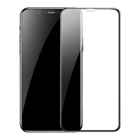 Baseus zestaw 2x szkło na cały ekran Full Screen z ramką 0.3mm 9H iPhone 11 Pro / iPhone XS / iPhone X + pozycjoner czarny (SGAPIPH58S-KC01)