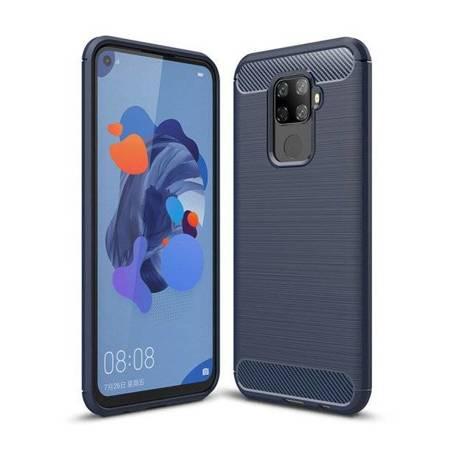 Carbon Case elastyczne etui pokrowiec Huawei Mate 30 Lite niebieski
