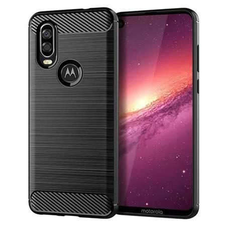 Carbon Case elastyczne etui pokrowiec Motorola One Action czarny