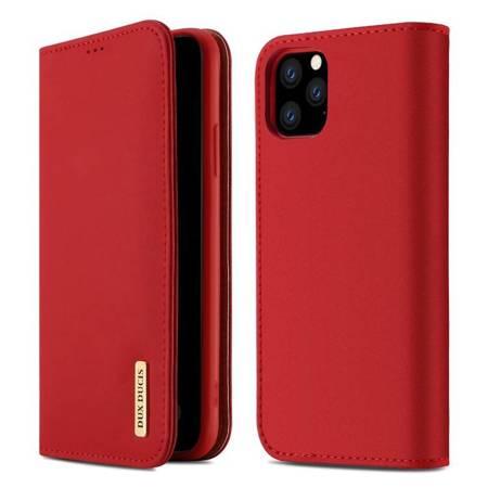 DUX DUCIS Wish skórzane etui pokrowiec ze skóry naturalnej iPhone 11 Pro Max czerwony