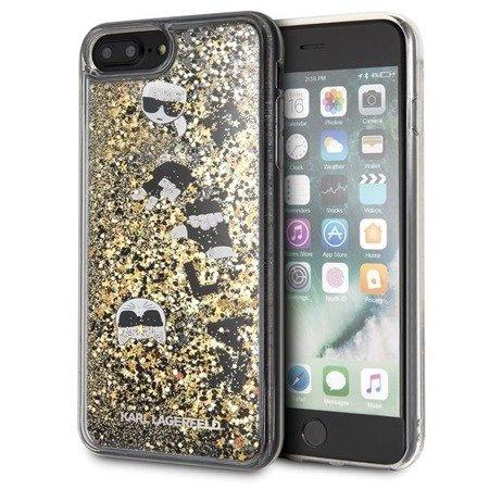 Etui Karl Lagerfeld KLHCI8LROGO iPhone 7/8 Plus czarno-złoty/black & gold hard case Glitter