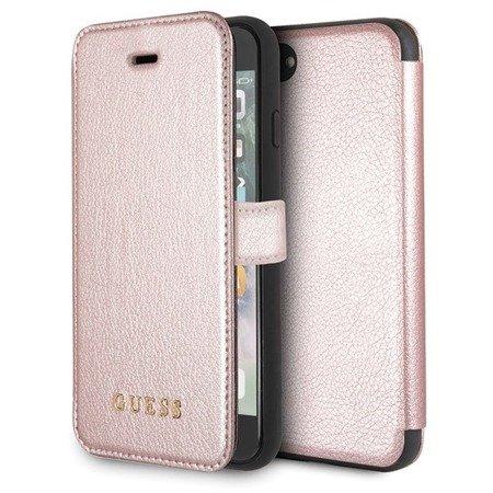 Guess GUFLBKI8IGLRG iPhone 7/8 rose gold /różowo-złoty book Iridescent